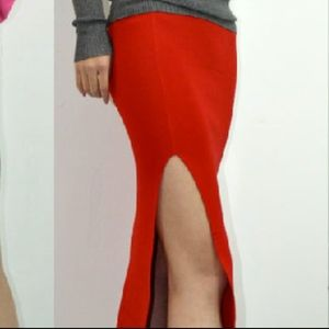 Very sexy passionate red skinny tight fit skirt